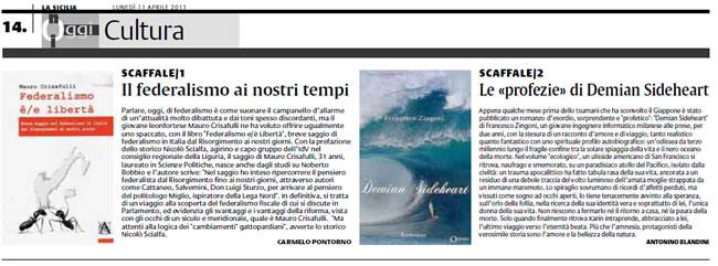 Recensione Demian Sideheart su La Sicilia 11 Aprile 2011