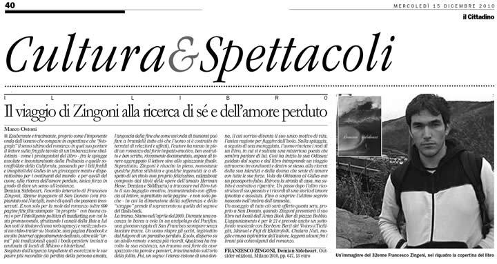 Recensione Demian Sideheart su Cittadino 15 Dicembre 2010