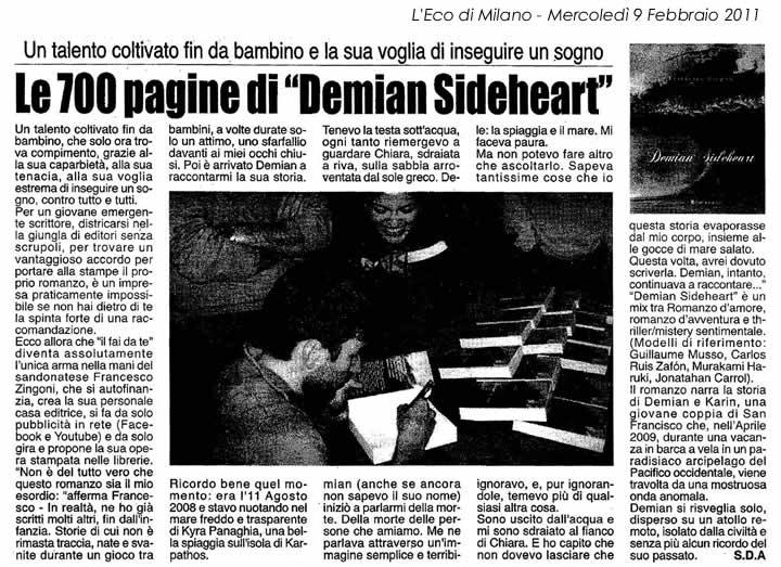 Recensione Demian Sideheart su Eco di Milano 9 Febbraio 2011